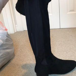 Vegan suede over knee flat boot. Wide calf